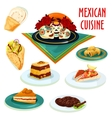 Mexican cuisine desserts and snacks isolated icons vector image