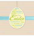 Easter background with hanging label vector image