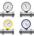 pipe pressure gauge set vector image vector image