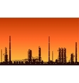 Silhouette of oil refinery or chemical plant vector image vector image