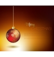 Merry Christmas gold greeting card with red vector image