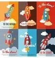 Vintage rocket flat banners composition poster vector image