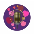 Vintage microphone and pink hearts icon vector image