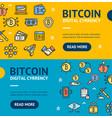 bitcoin digital currency banner horizontal set vector image