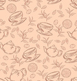 hand drawn seamless pattern with outlines cup of vector image