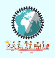 people around globe retro flat design vector image