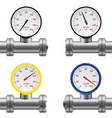 pipe pressure gauge set vector image