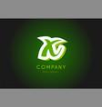 x alphabet letter logo green 3d company icon vector image