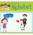 Flashcard letter S is for son vector image