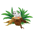 A cute cat on a stump with leaves vector image