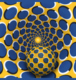 ball is moving in yellow blue rotating hole vector image