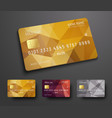 Design of a credit debit bank card with a gold vector image