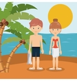 couple on vacation in beach isolated icon design vector image