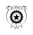 Badge winner award with ribbon isolated on white vector image