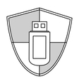black line usb security vector image