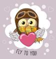 Cute cartoon owl in a pilot hat vector image