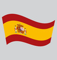 flag of spain waving on gray background vector image