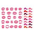 Set of 23 imprints of lipstick vector image