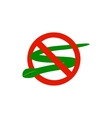 Warning sign with snake icon isometric 3d style vector image