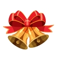 Christmas bells with red bow icon cartoon style vector image