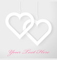 Two Hearts applique on gray background vector image
