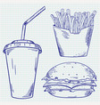 fast food set french fries burger and paper cup vector image