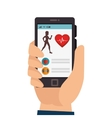 smartphone with fitness app isolated icon vector image