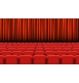 Theater auditorium with rows of red seats and vector image