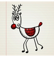 Christmas deer in doodle style vector image