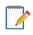 cartoon notepad pencil icon graphic isolated vector image