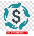 Dollar Care Hands Icon vector image