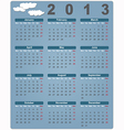 Colorful calendar for 2013 with cute clouds vector image vector image