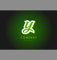 y alphabet letter logo green 3d company icon vector image