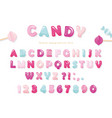 candy glossy font design pastel pink and blue abc vector image