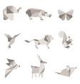 color origami animals vector image