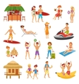 Beach flat set vector image