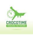 green crocodile alligator animal icon text vector image
