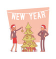 new year office tree lineart concept vector image