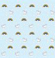 seamless unicorns and rainbows pattern vector image