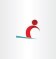 skier man skiing on snow symbol vector image vector image