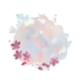Watercolor Spot with Cherry Blossom Flowers vector image