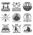 Monochrome Samurai Emblems Set vector image