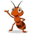 Cute ant cartoon waving vector image