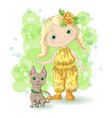 cute cartoon girl with her pet vector image