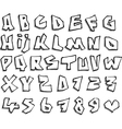 liquid line paper cut font and number alphabet ove vector image