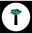 black tree with green leaves simple icon eps10 vector image