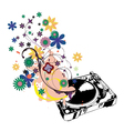 turntable with floral vector image vector image