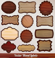 Set Wooden labels classic vintage retro vector image vector image