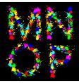 Alphabet color drop mnop vector image
