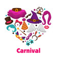 carnival party promo poster with accessories and vector image